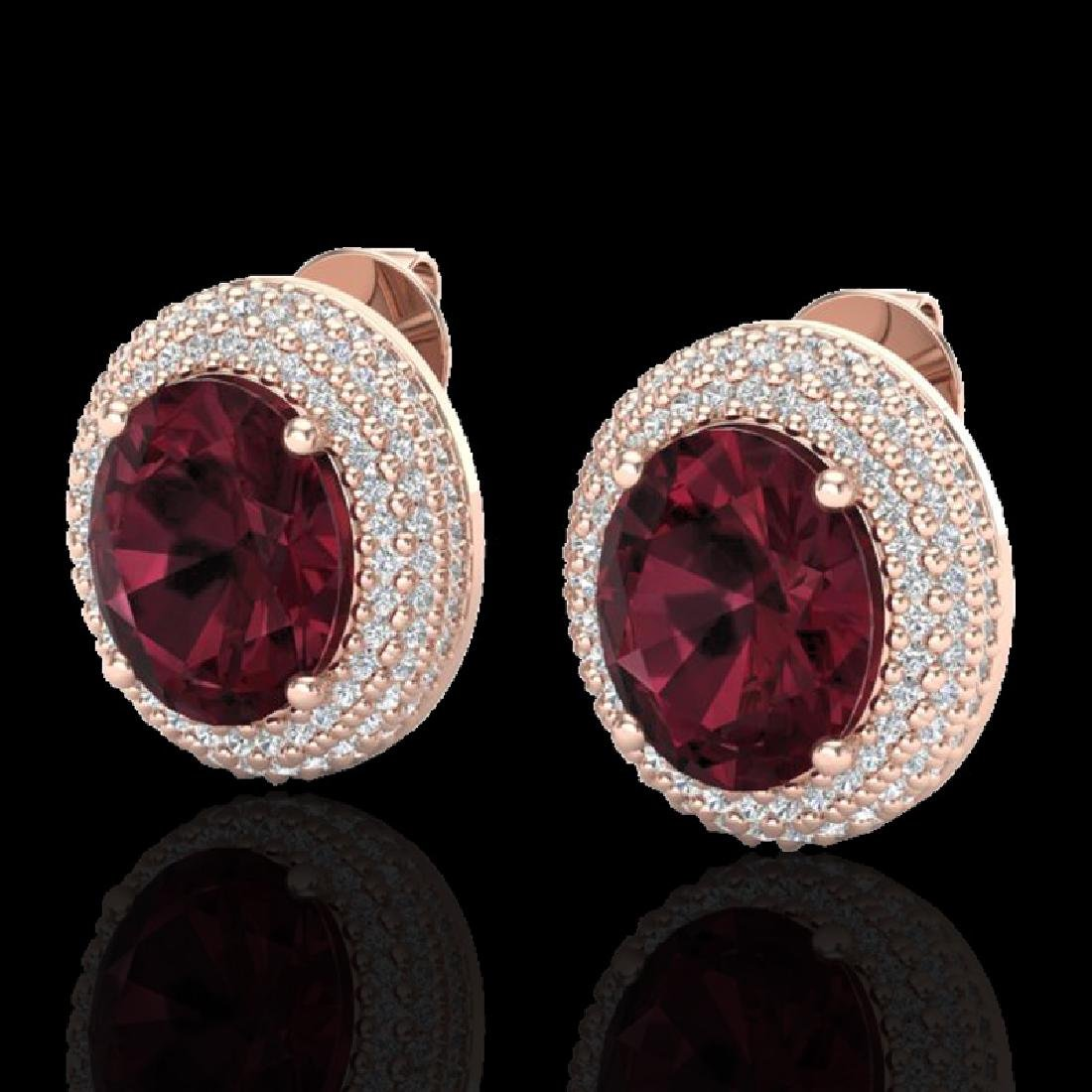 9 CTW Garnet & Micro Pave VS/SI Diamond Earrings 14K