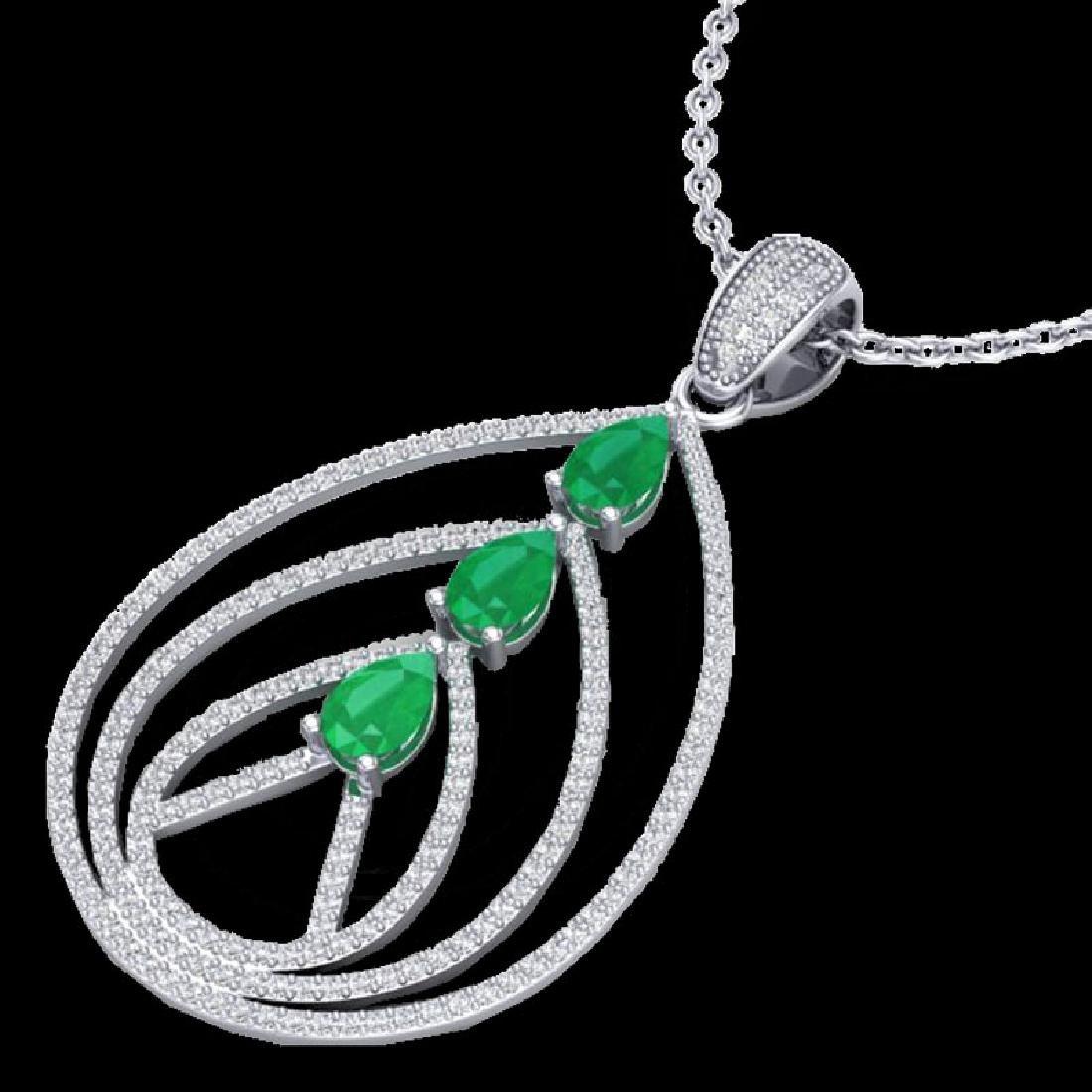 2 CTW Emerald & Micro Pave VS/SI Diamond Designer