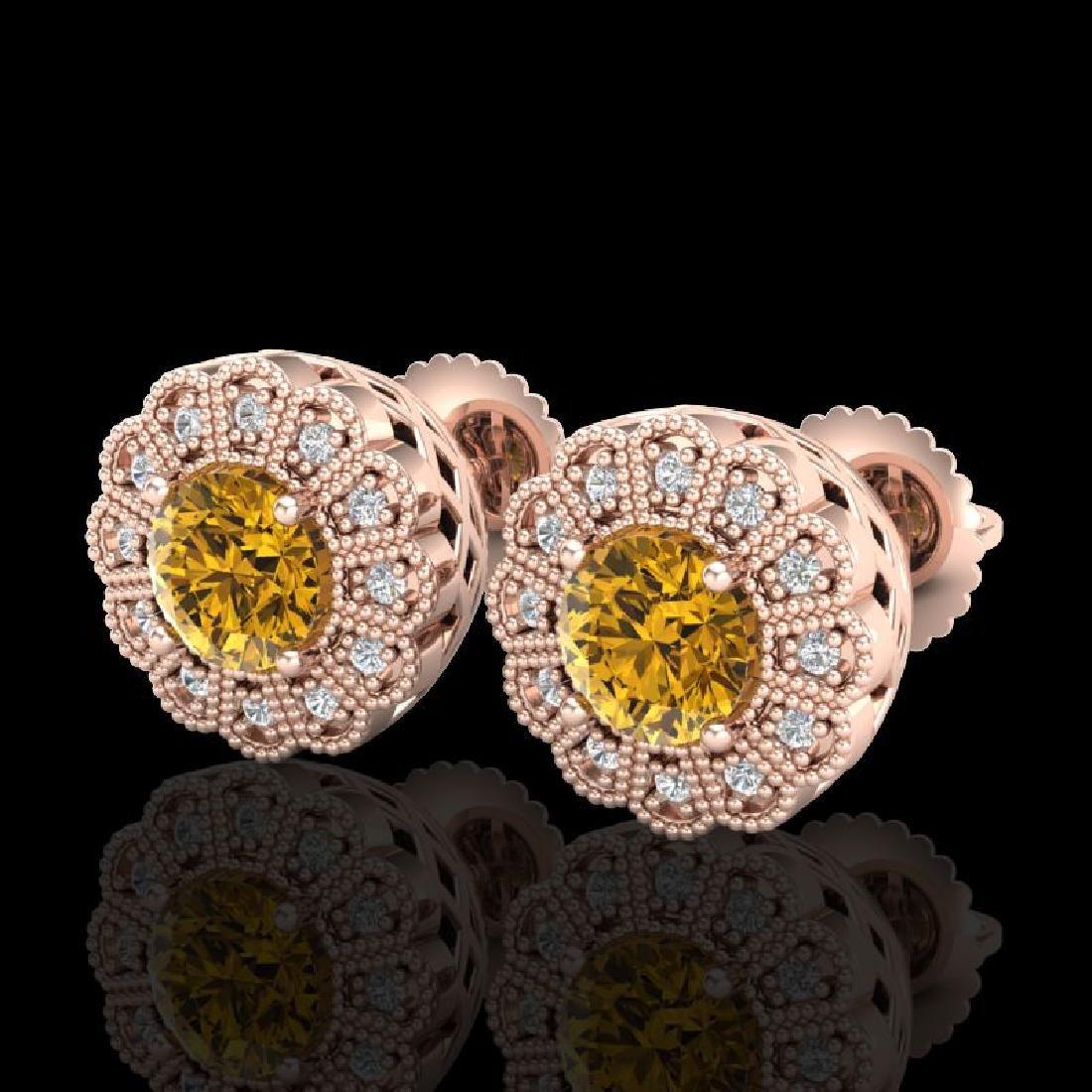 1.32 CTW Intense Fancy Yellow Diamond Art Deco Stud