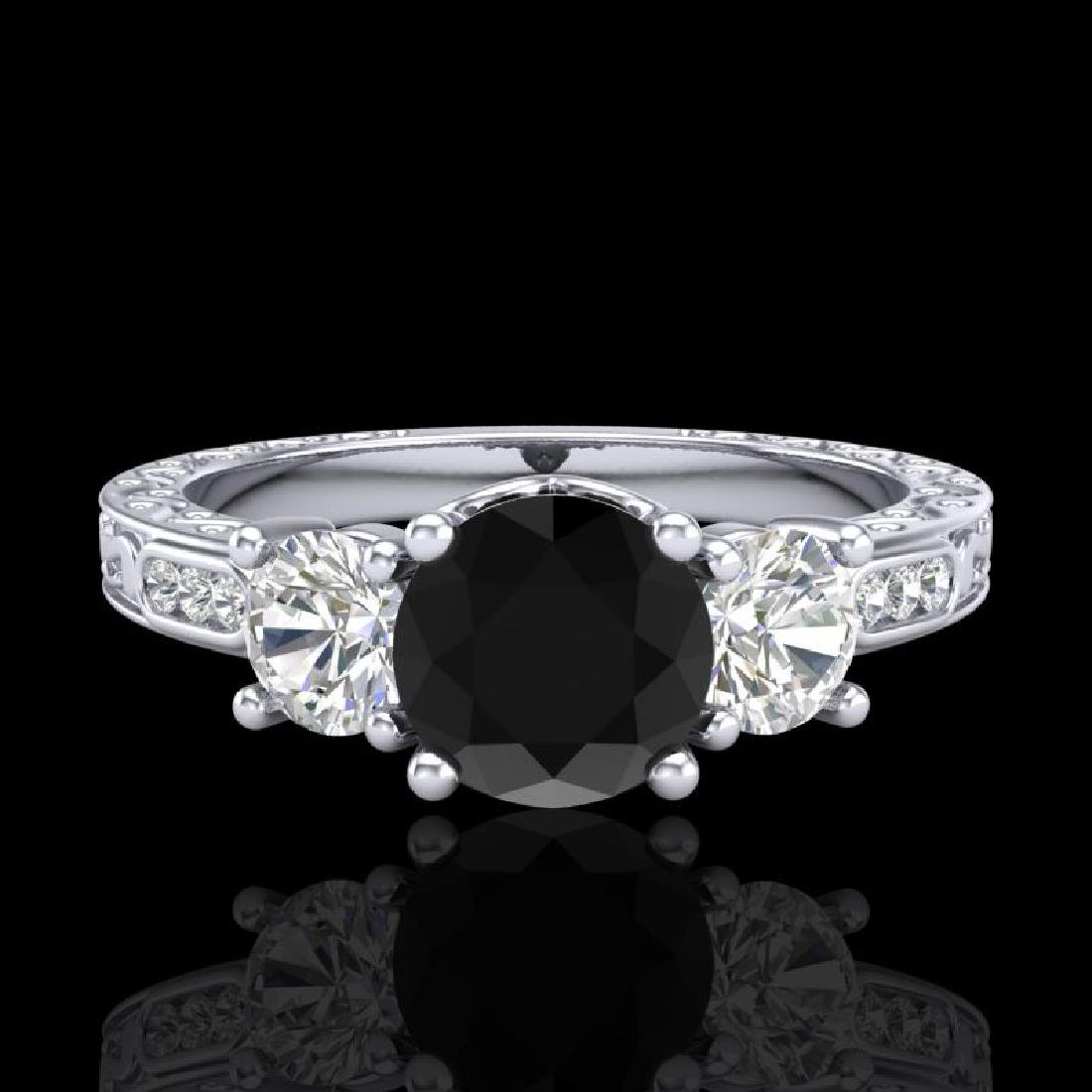 1.41 CTW Fancy Black Diamond Solitaire Art Deco 3 Stone - 2