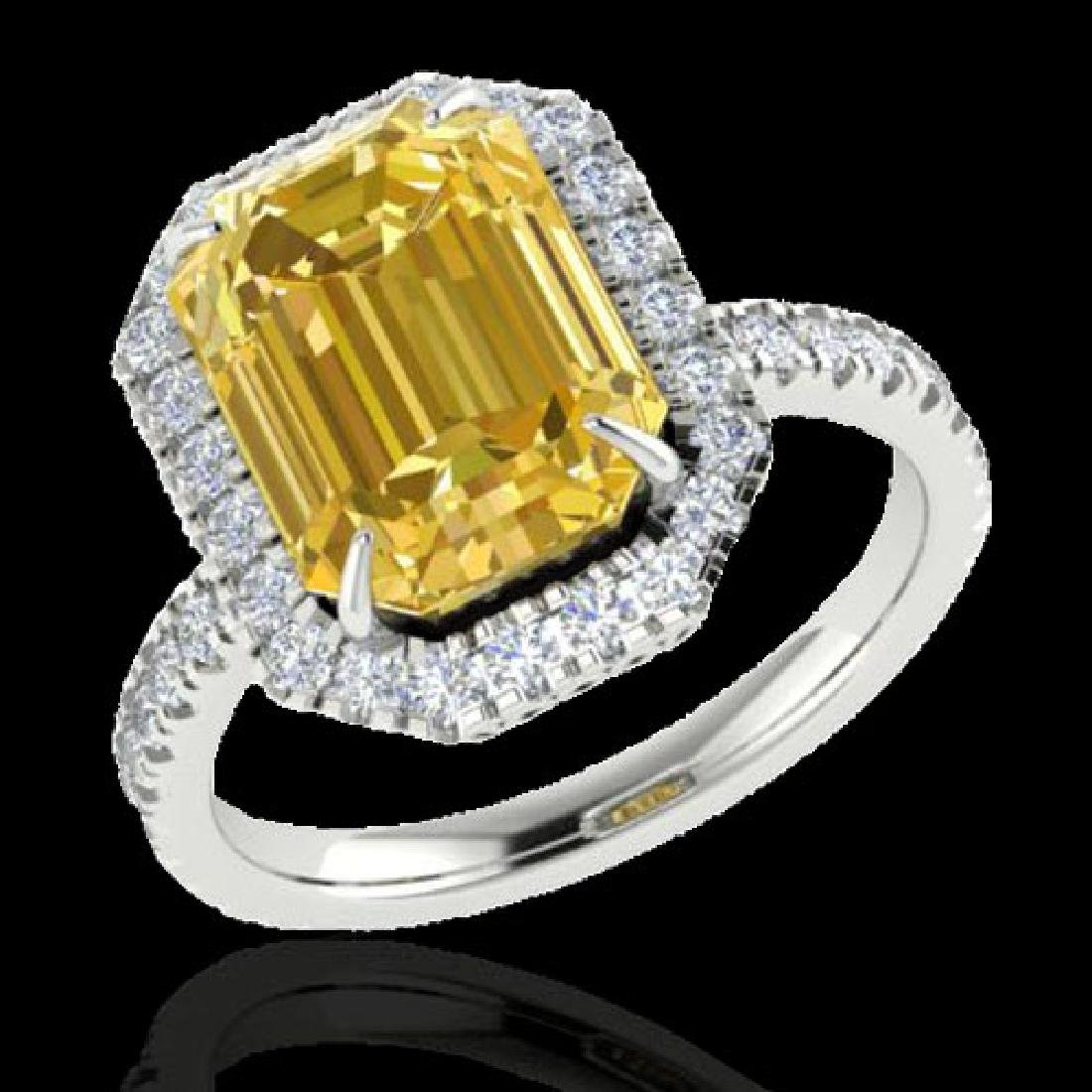 4.50 CTW Citrine And Micro Pave VS/SI Diamond Halo Ring - 2