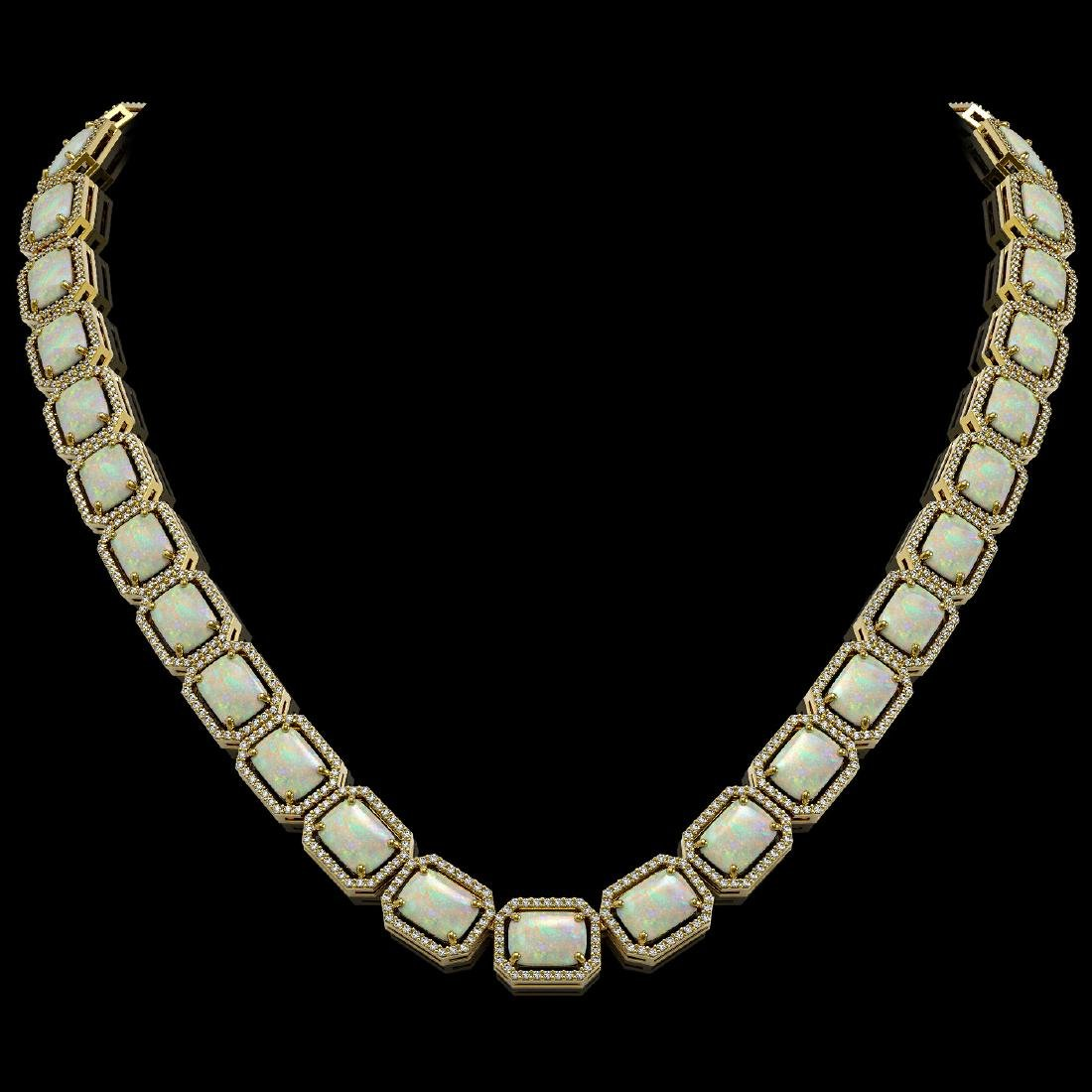 53.59 CTW Opal & Diamond Halo Necklace 10K Yellow Gold