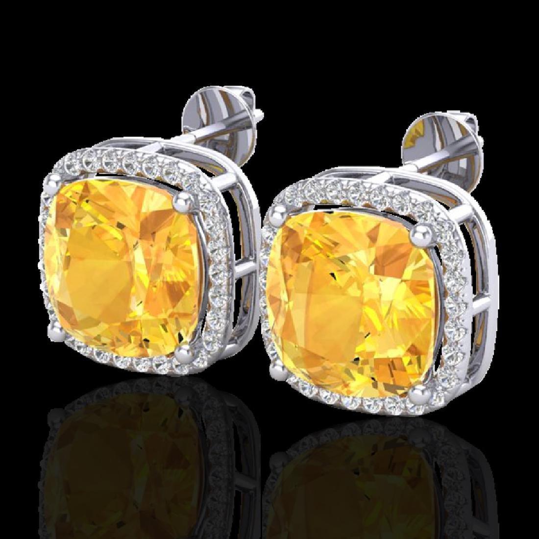 12 CTW Citrine & Micro Pave Halo VS/SI Diamond Earrings
