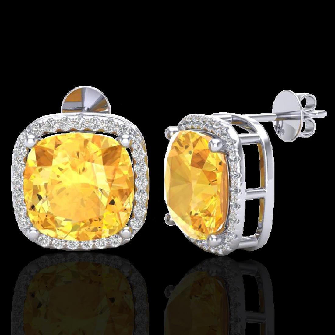 12 CTW Citrine & Micro Pave Halo VS/SI Diamond Earrings - 2