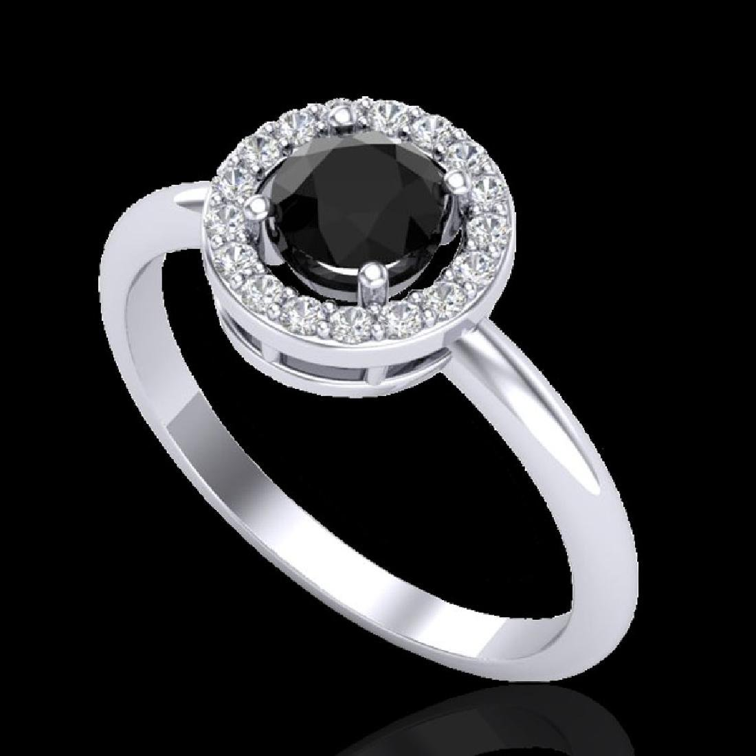 0.75 CTW Micro Pave Halo Solitaire VS/SI Diamond Ring - 2