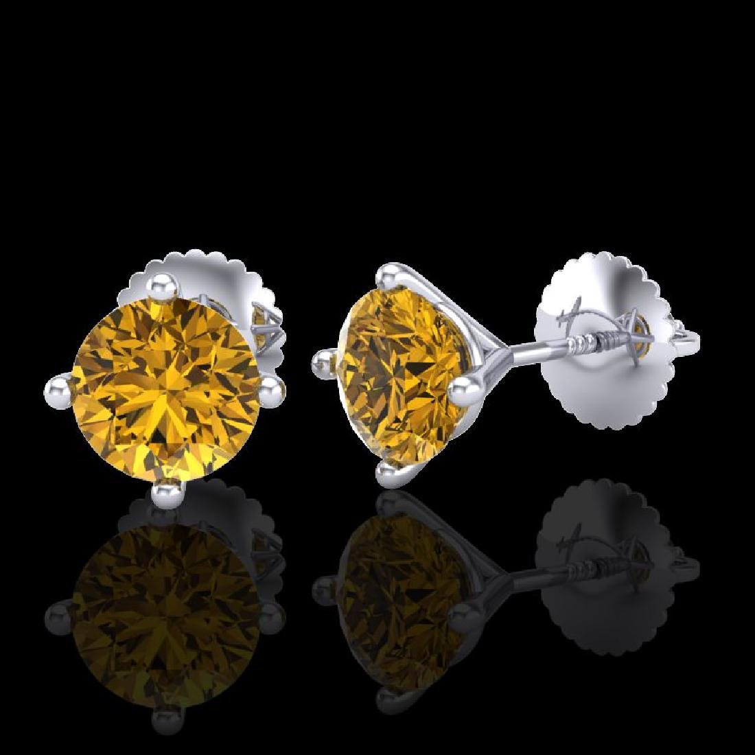 1.5 CTW Intense Fancy Yellow Diamond Art Deco Stud - 2