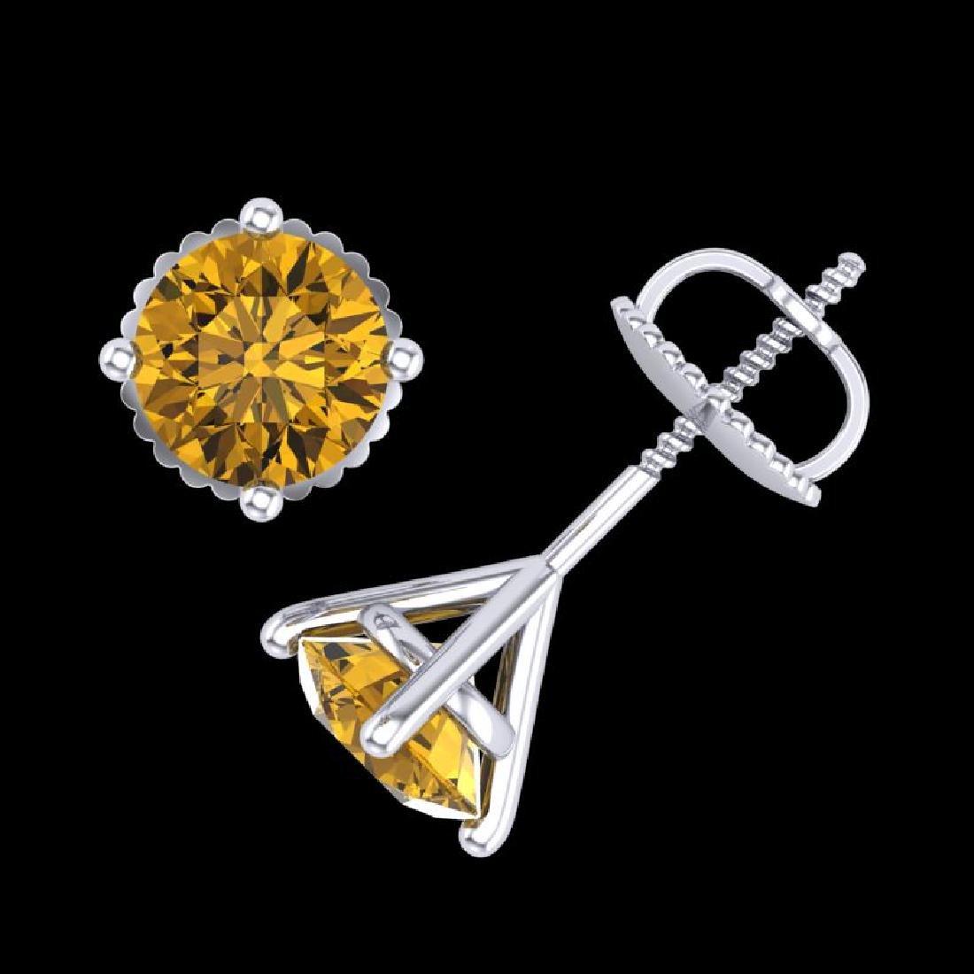 1.5 CTW Intense Fancy Yellow Diamond Art Deco Stud - 3