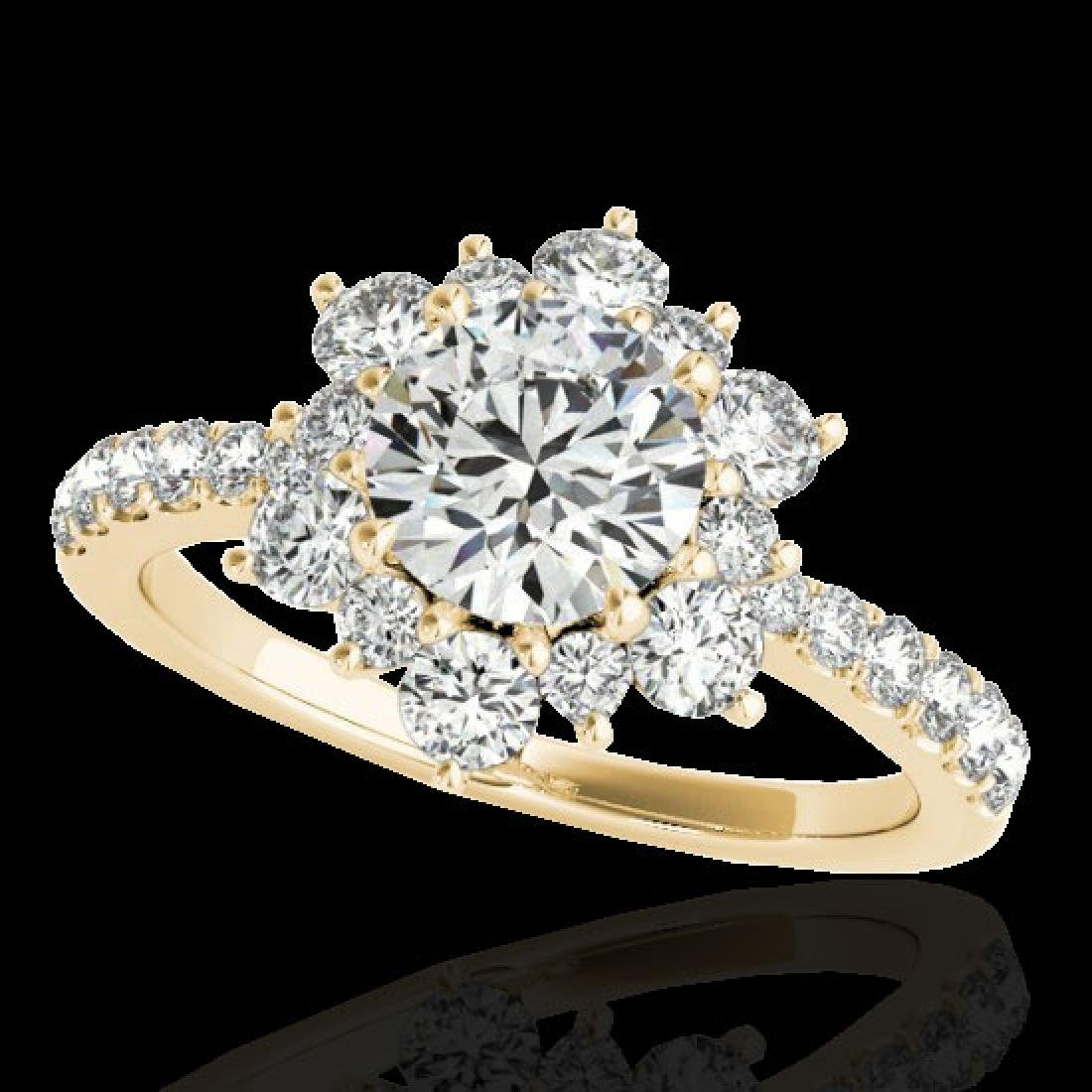 2.19 CTW H-SI/I Certified Diamond Solitaire Halo Ring