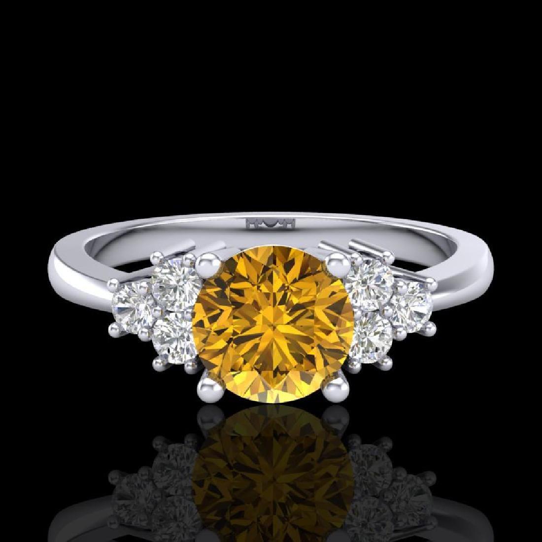 1 CTW Intense Yellow Diamond Solitaire Engagement - 2