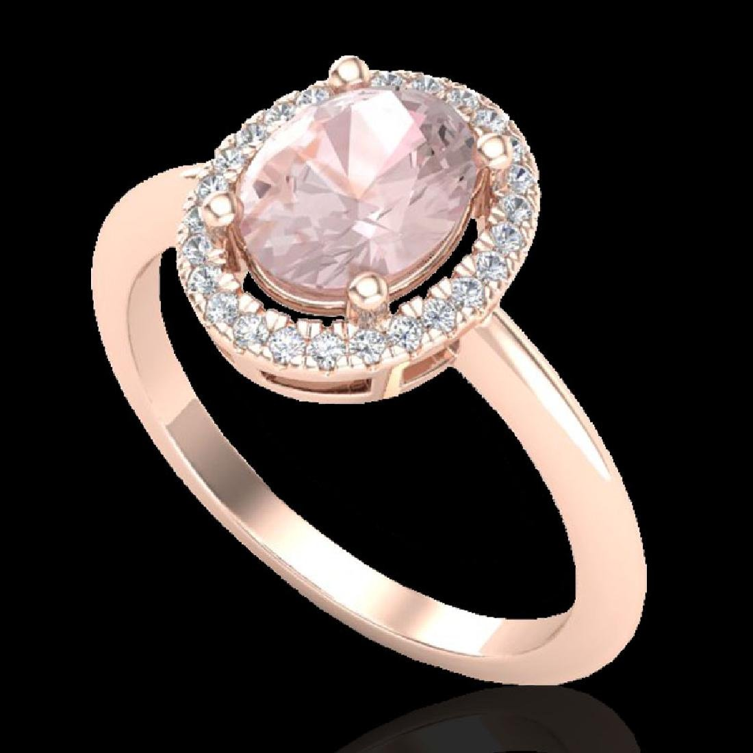 1.50 CTW Morganite & Micro VS/SI Diamond Ring Solitaire - 2