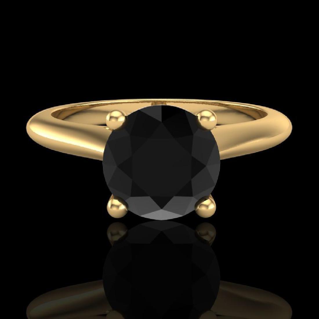 1.36 CTW Fancy Black Diamond Solitaire Engagement Art - 2