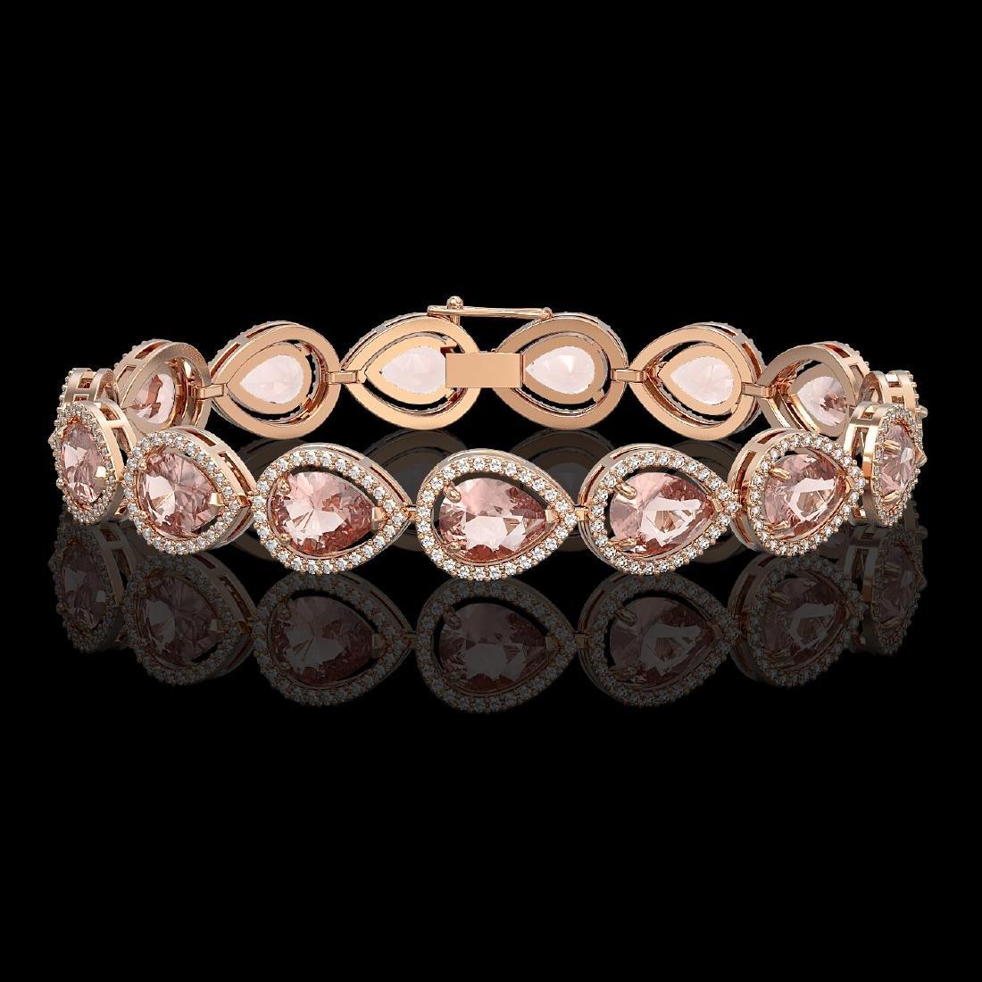 19.55 CTW Morganite & Diamond Halo Bracelet 10K Rose