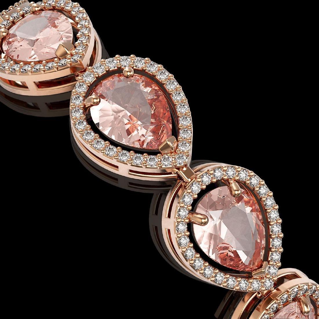 19.55 CTW Morganite & Diamond Halo Bracelet 10K Rose - 2