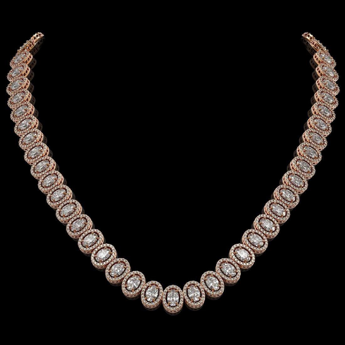 34.72 CTW Oval Diamond Designer Necklace 18K Rose Gold