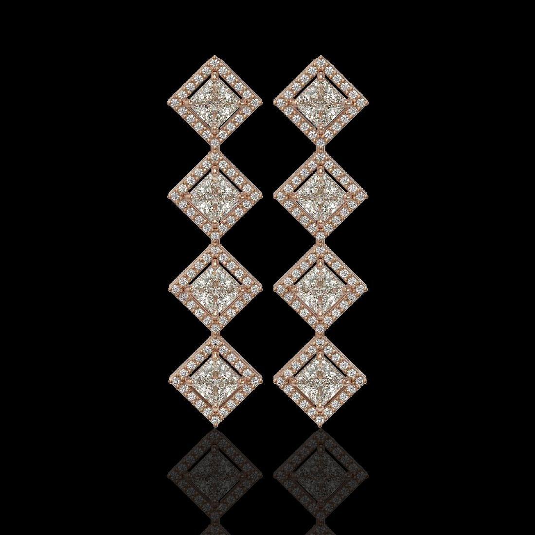 5.31 CTW Princess Cut Diamond Designer Earrings 18K