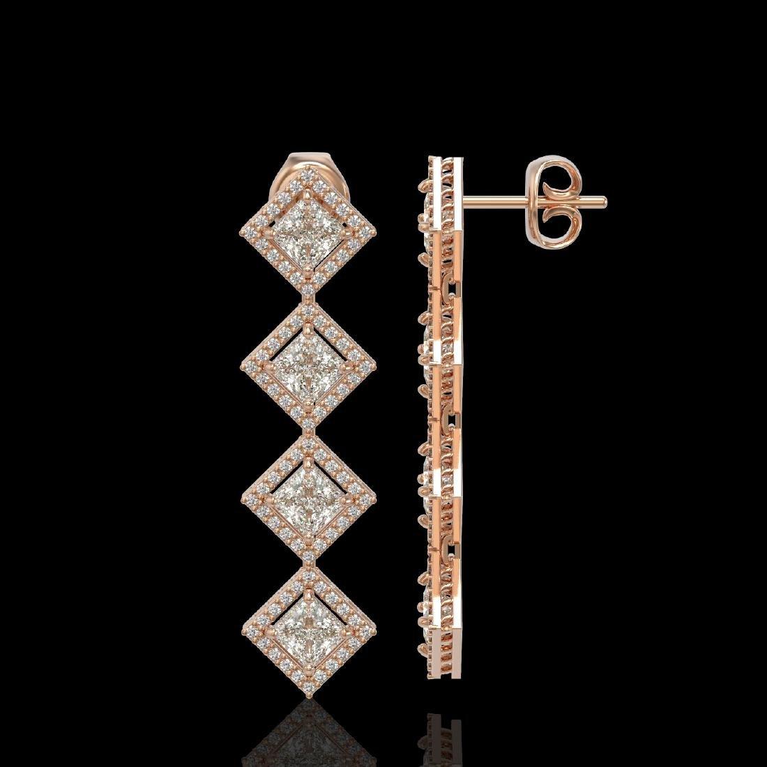 5.31 CTW Princess Cut Diamond Designer Earrings 18K - 2