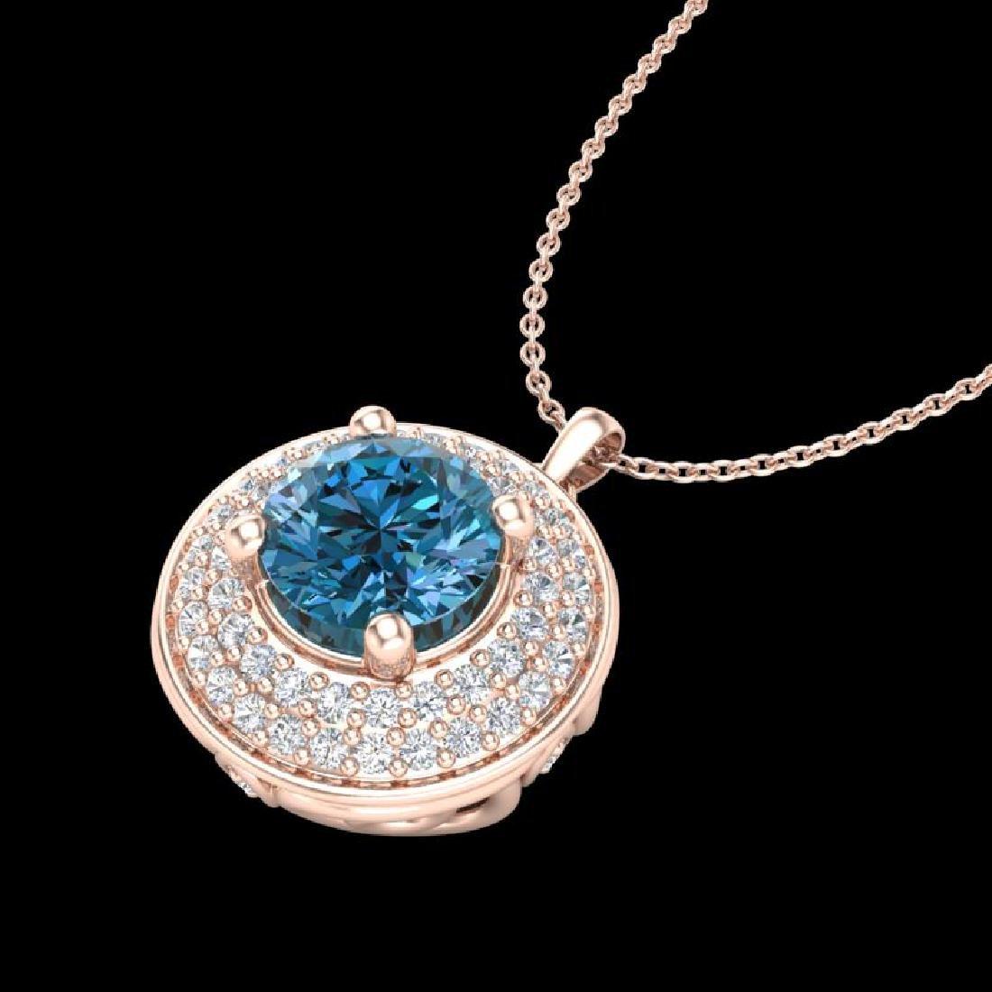 1.25 CTW Fancy Intense Blue Diamond Solitaire Art Deco - 2