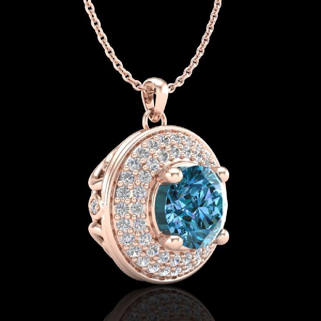 1.25 CTW Fancy Intense Blue Diamond Solitaire Art Deco - 3