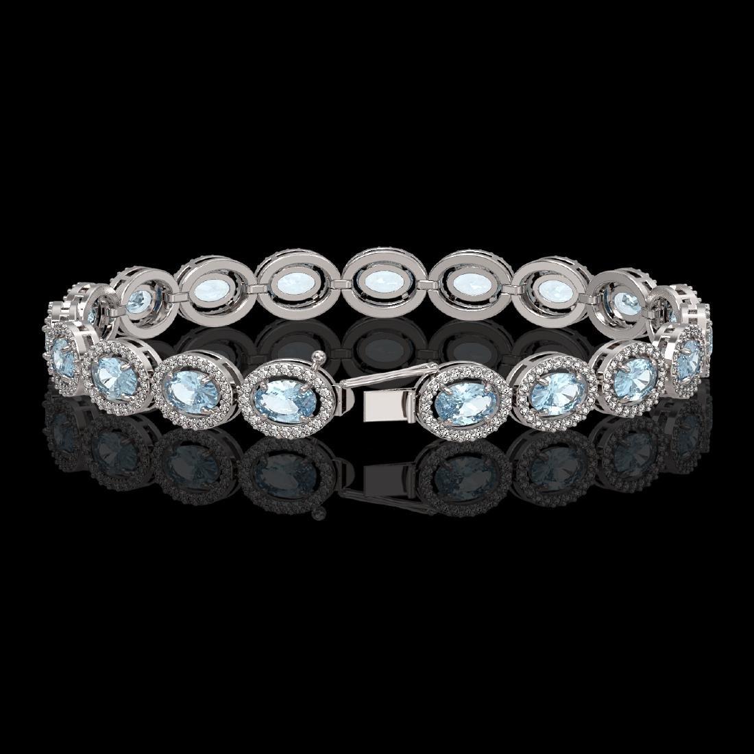 11.02 CTW Aquamarine & Diamond Halo Bracelet 10K White - 2