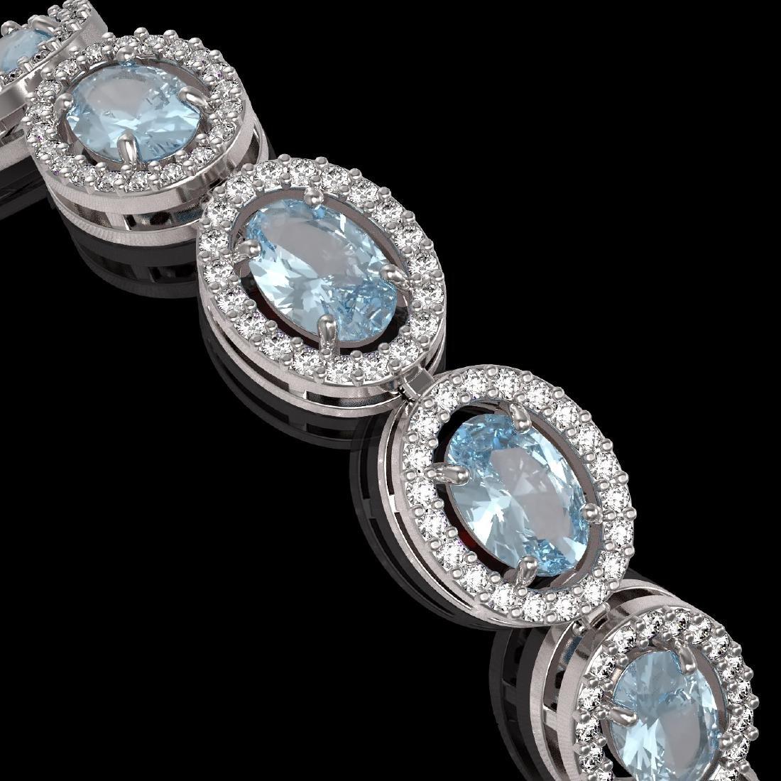 11.02 CTW Aquamarine & Diamond Halo Bracelet 10K White - 3