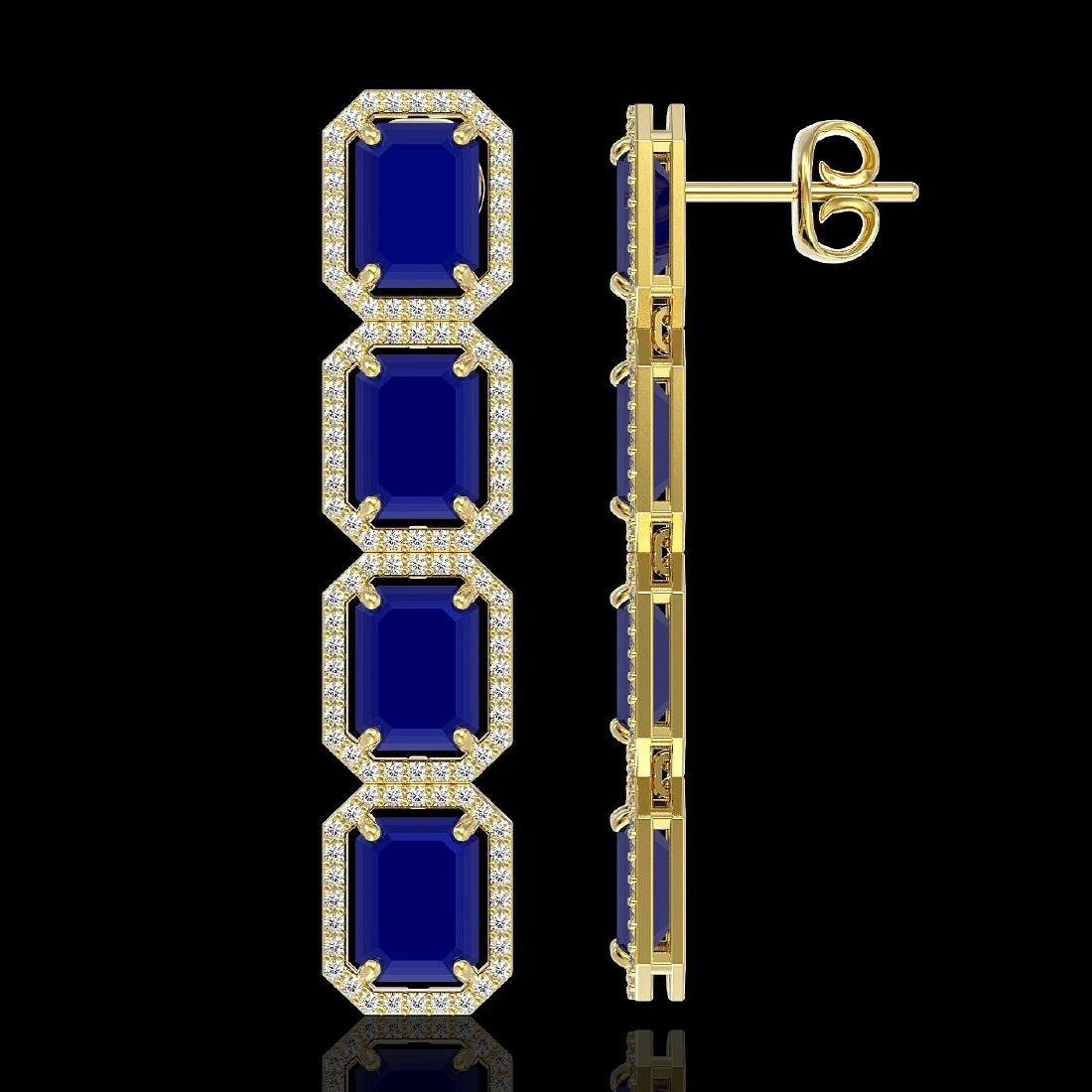 20.59 CTW Sapphire & Diamond Halo Earrings 10K Yellow - 2