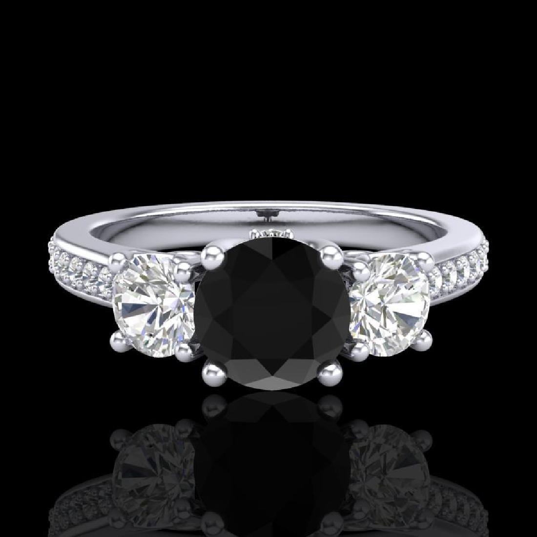 1.67 CTW Fancy Black Diamond Solitaire Art Deco 3 Stone - 2