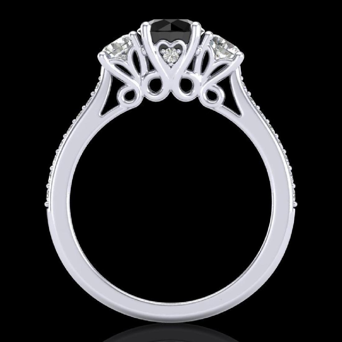 1.67 CTW Fancy Black Diamond Solitaire Art Deco 3 Stone - 3