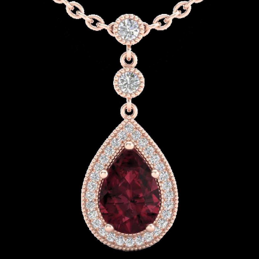 2.25 CTW Garnet & Micro VS/SI Diamond Necklace Designer - 2