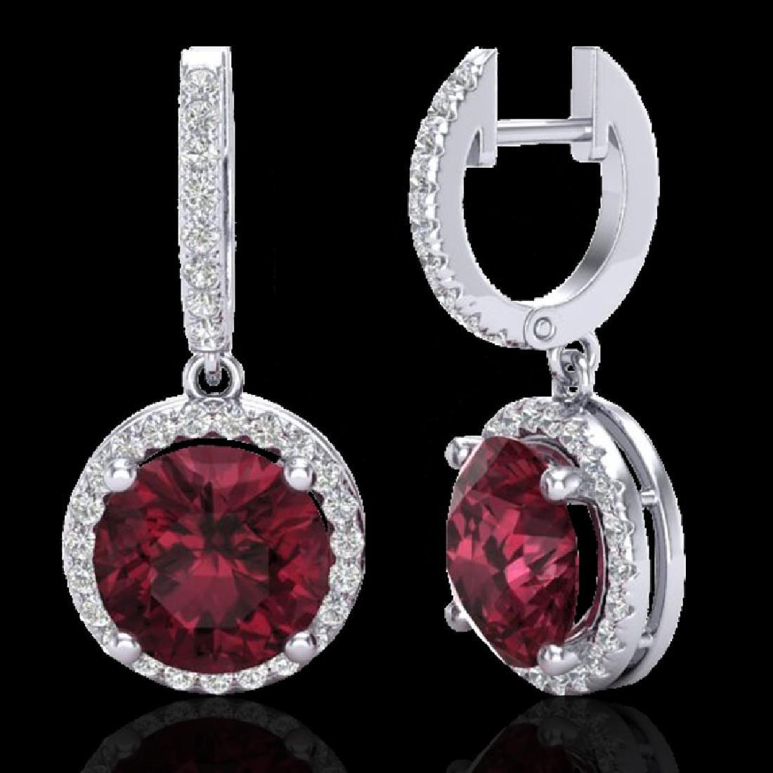 5.50 CTW Garnet & Micro Pave VS/SI Diamond Designer - 2