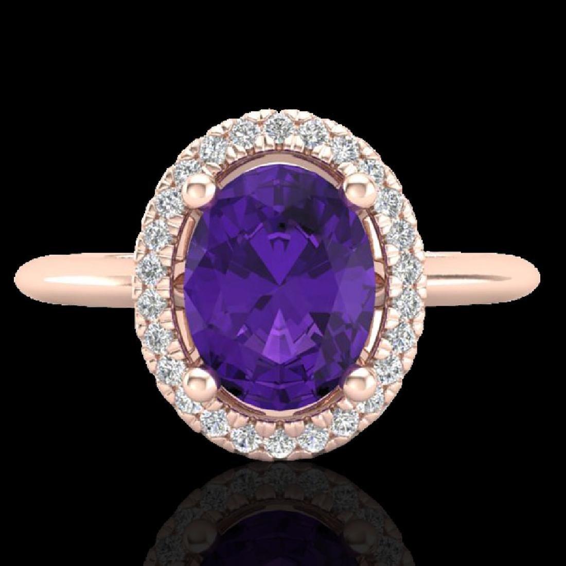 1.75 CTW Amethyst & Micro VS/SI Diamond Ring Solitaire