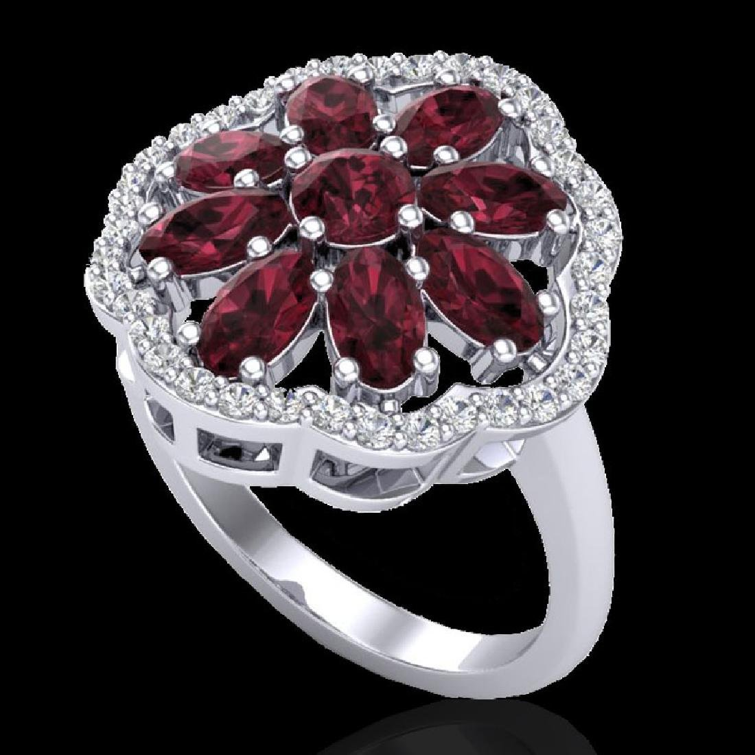 3 CTW Garnet & VS/SI Diamond Cluster Designer Halo Ring