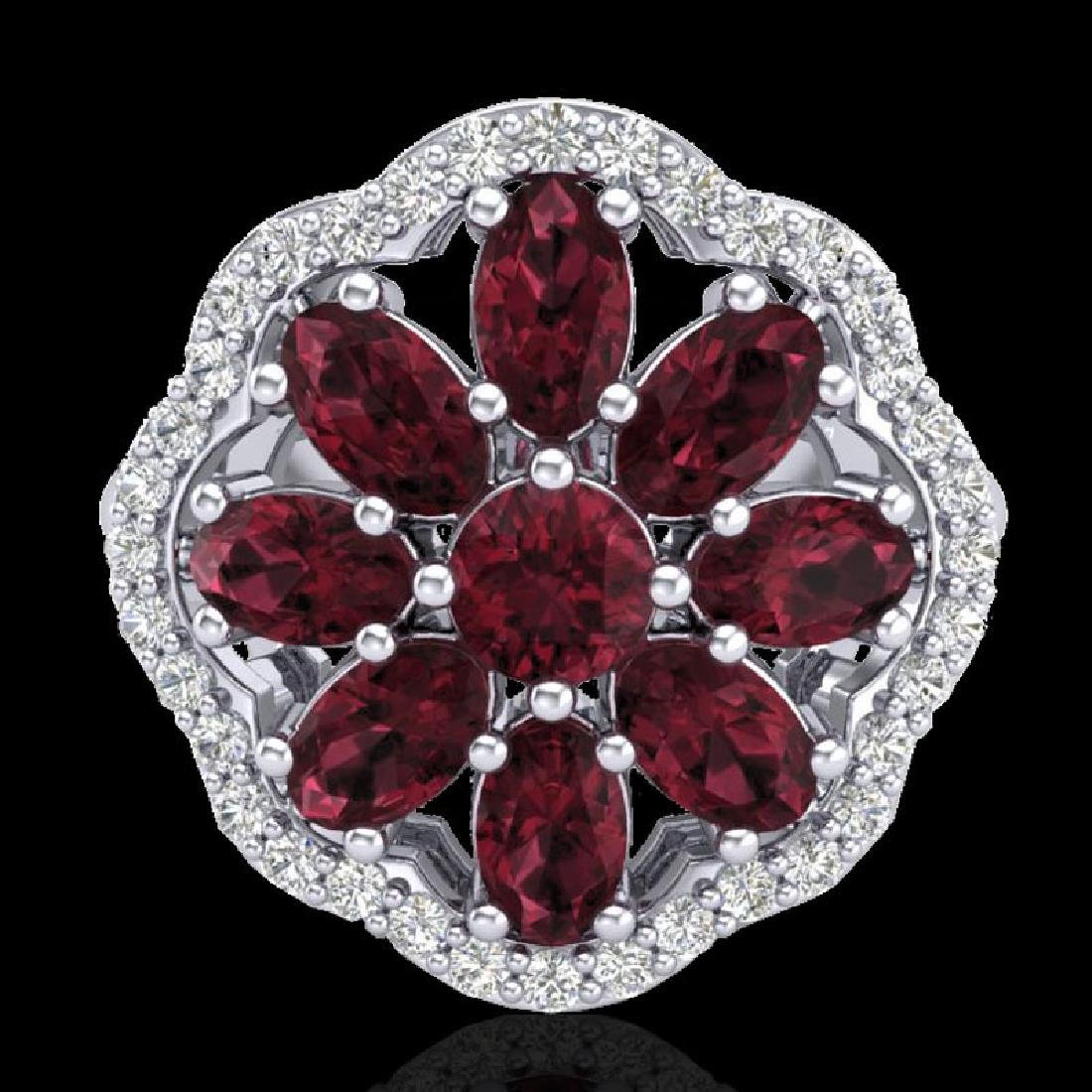 3 CTW Garnet & VS/SI Diamond Cluster Designer Halo Ring - 2