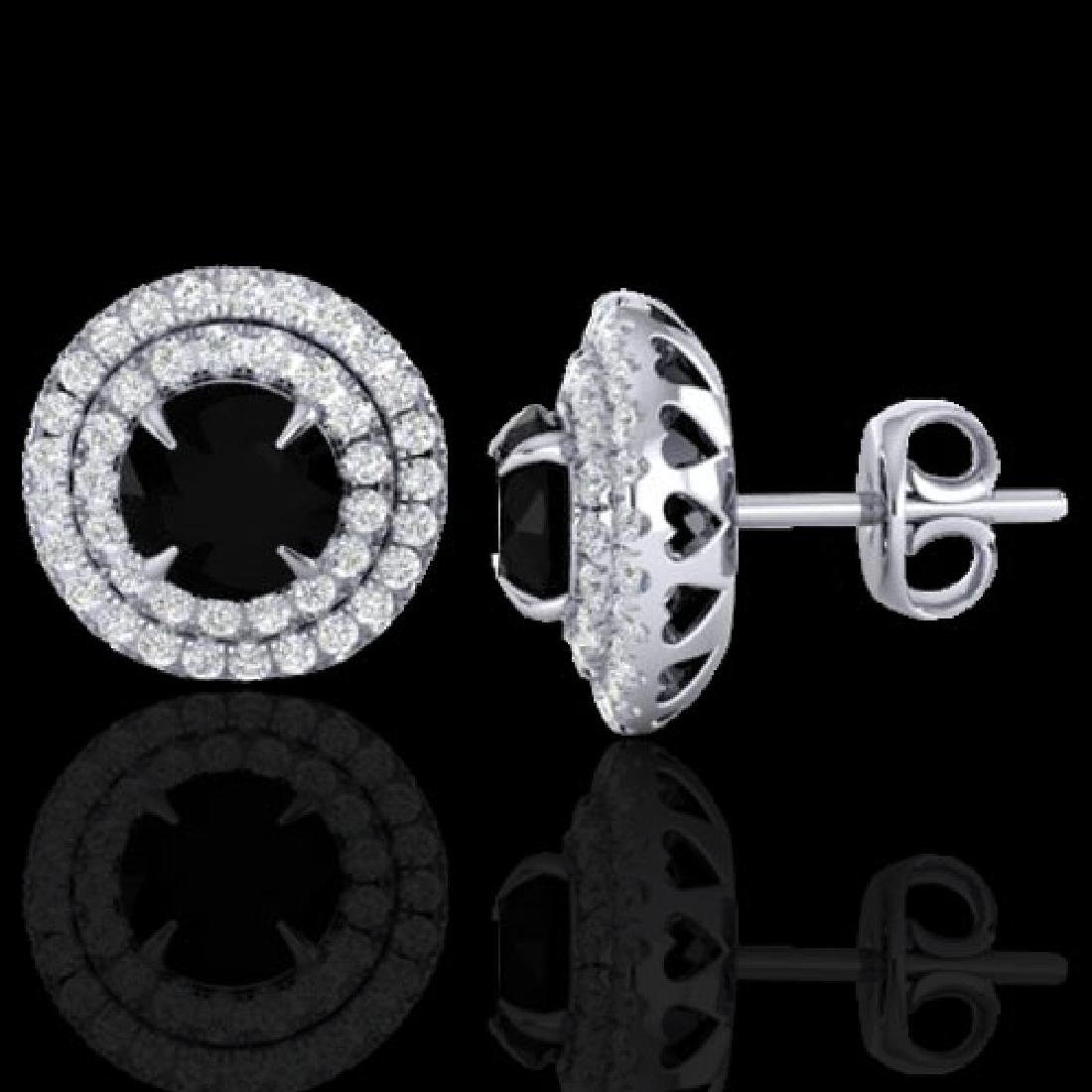 2 CTW Micro Pave VS/SI Diamond Stud Earrings Double - 2