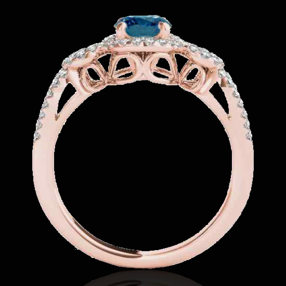 1.38 CTW SI Certified Fancy Blue Diamond Solitaire Halo - 2