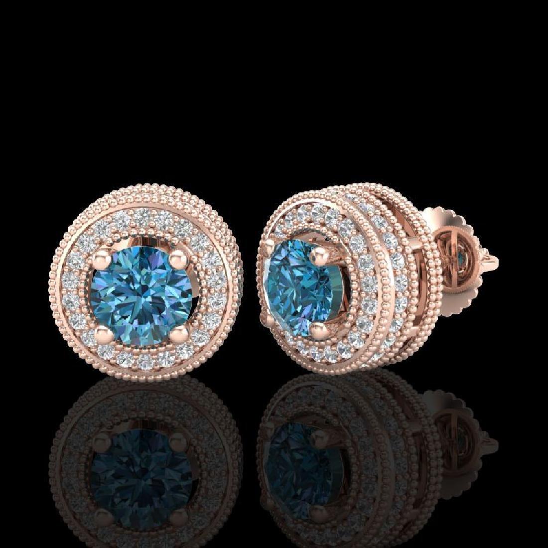 2.09 CTW Fancy Intense Blue Diamond Art Deco Stud - 2