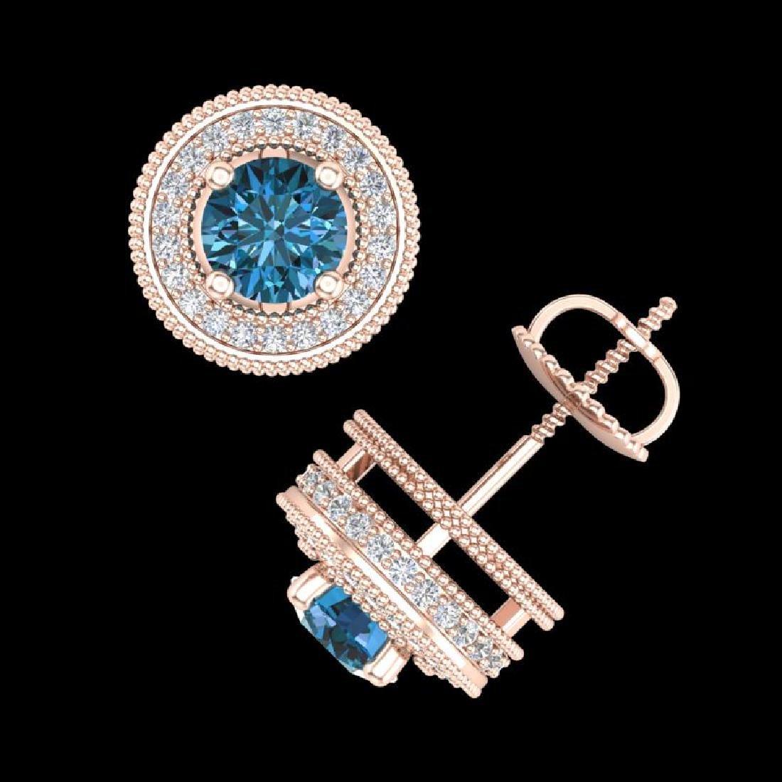 2.09 CTW Fancy Intense Blue Diamond Art Deco Stud - 3