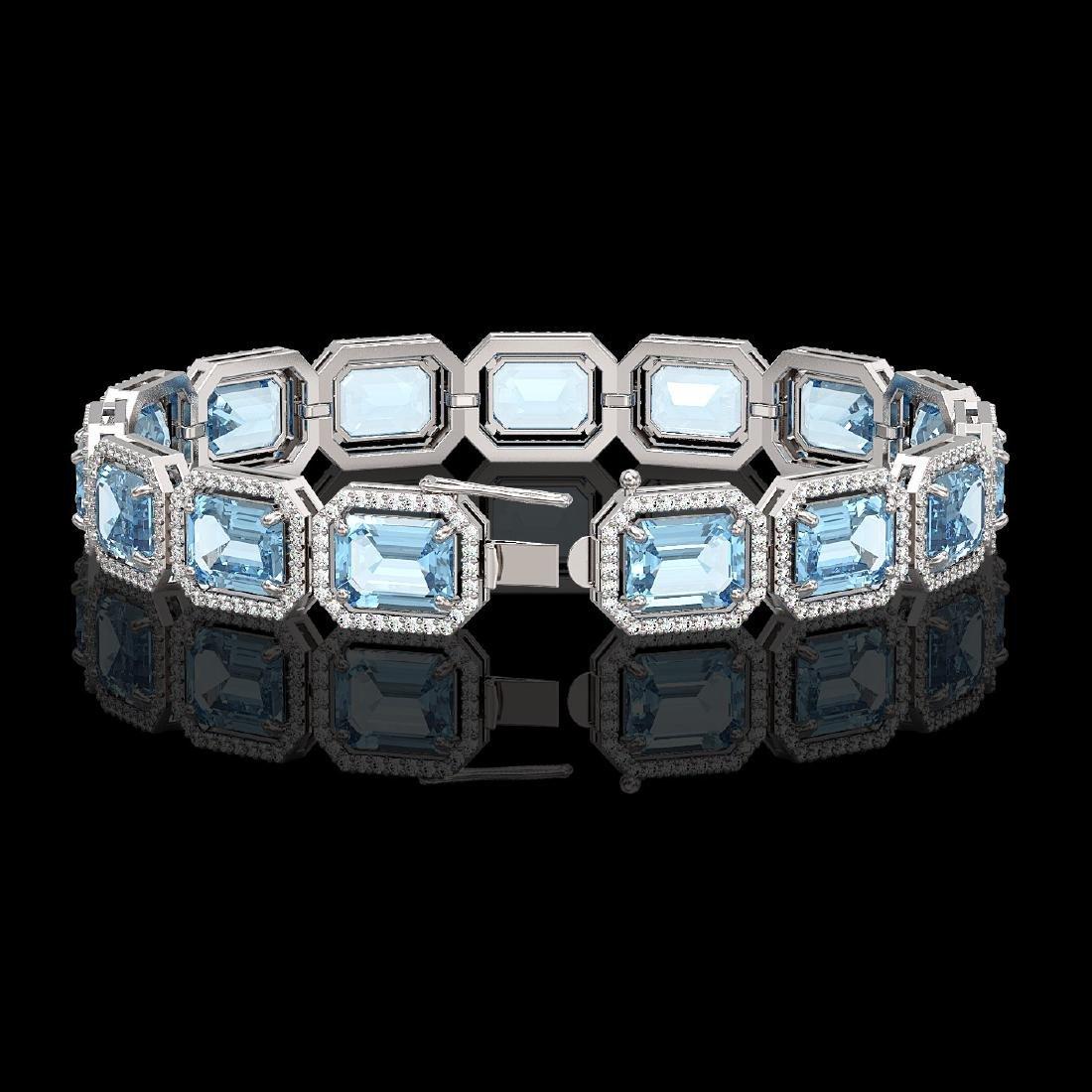 35.61 CTW Sky Topaz & Diamond Halo Bracelet 10K White - 2