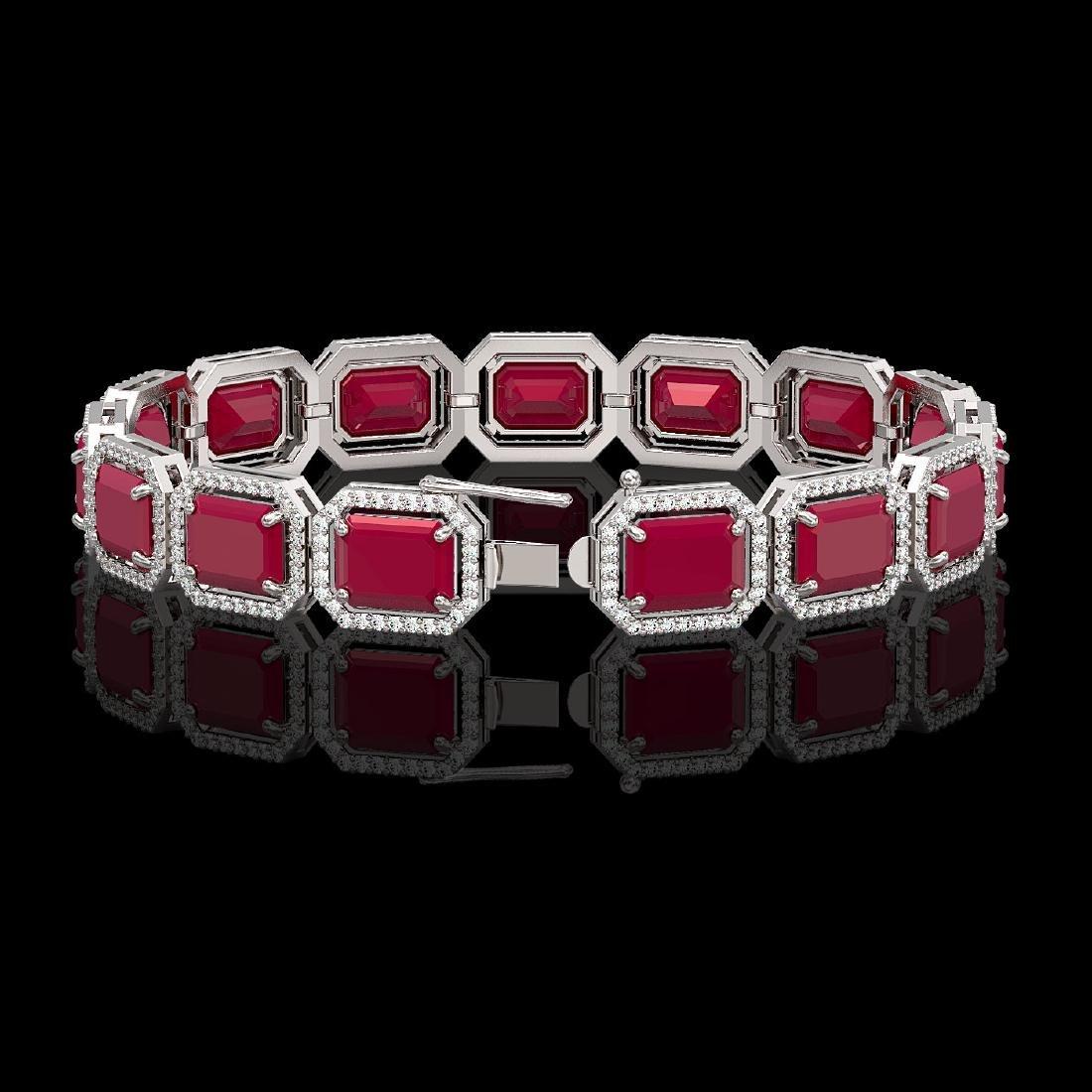 38.61 CTW Ruby & Diamond Halo Bracelet 10K White Gold - 2