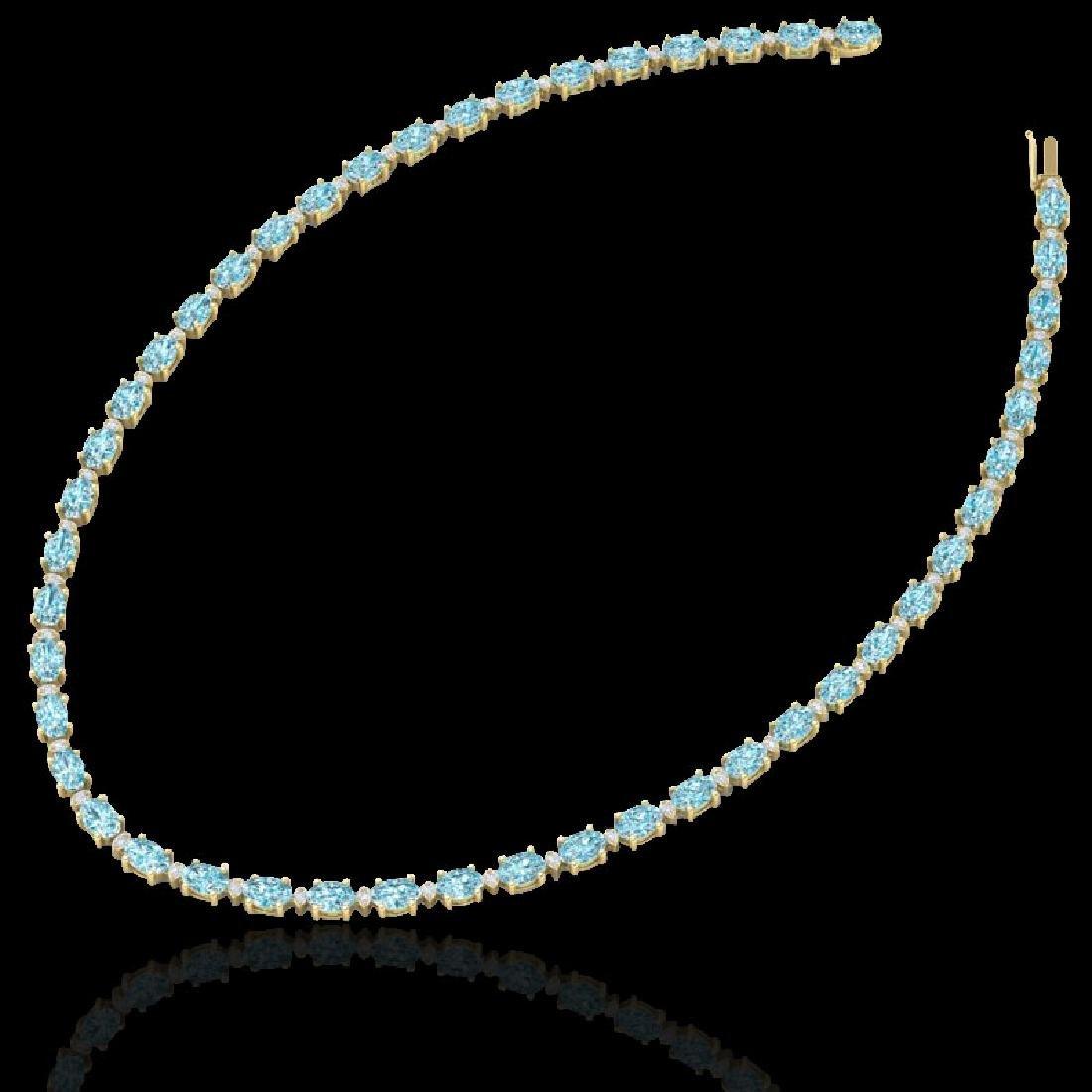 34 CTW Sky Blue Topaz & VS/SI Diamond Tennis Necklace - 2