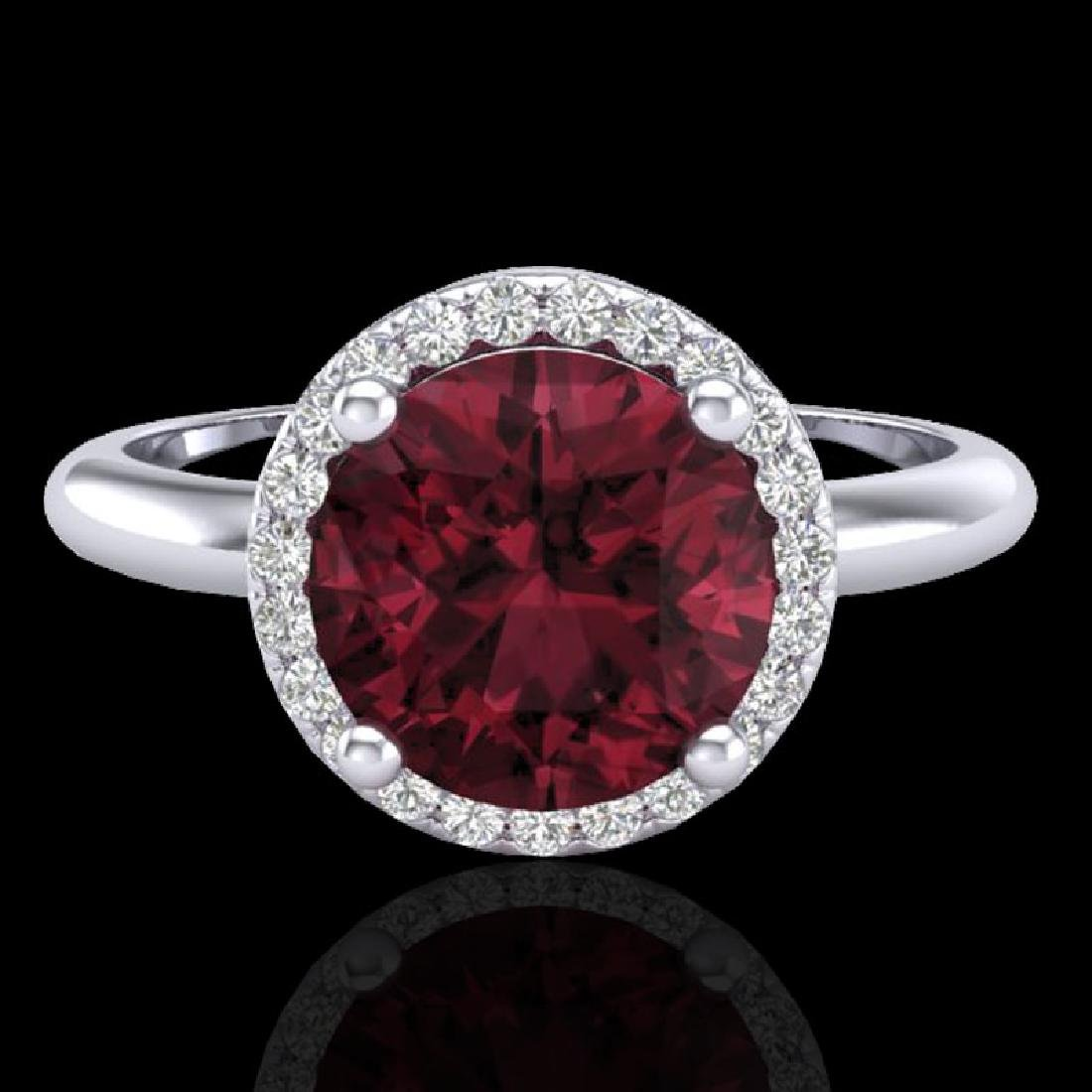 2.70 CTW Garnet & Micro Pave VS/SI Diamond Ring