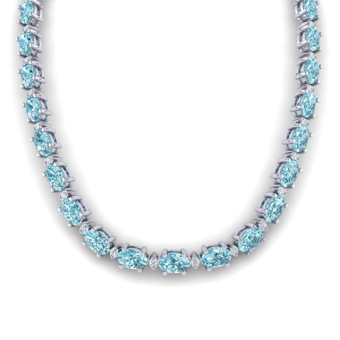 34 CTW Sky Blue Topaz & VS/SI Diamond Tennis Necklace - 3