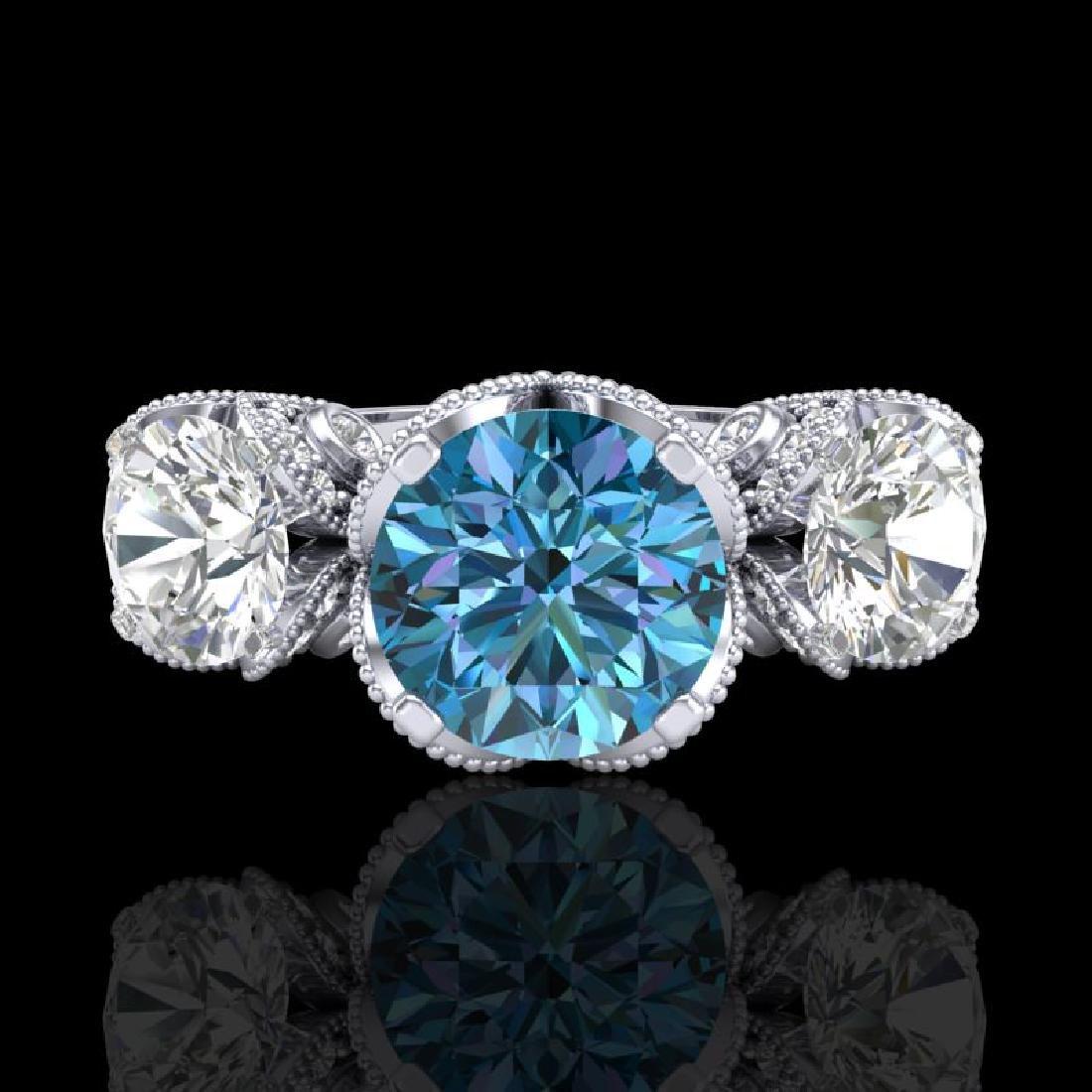 3 CTW Fancy Intense Blue Diamond Solitaire Art Deco 3 - 2