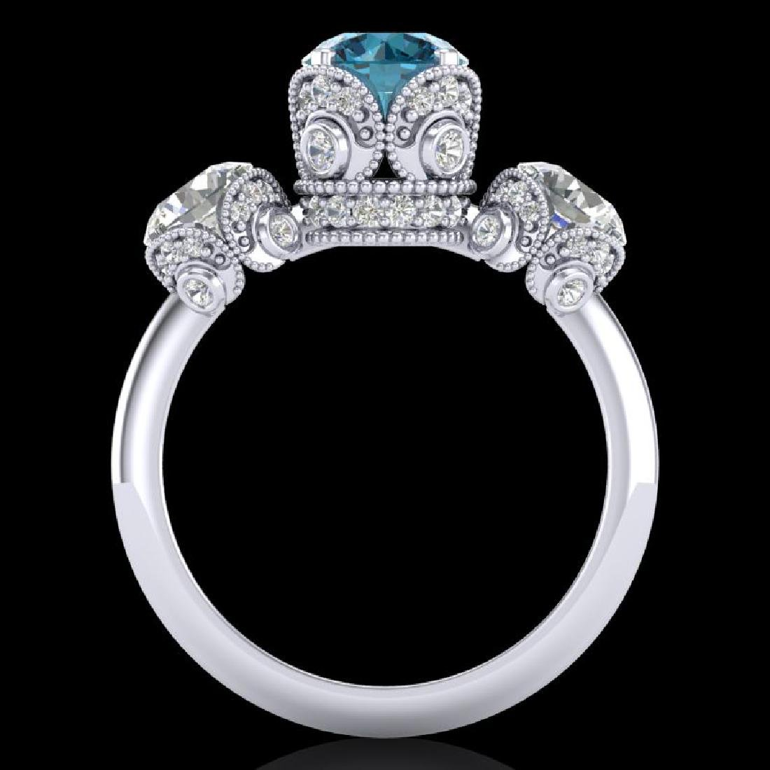 3 CTW Fancy Intense Blue Diamond Solitaire Art Deco 3 - 3