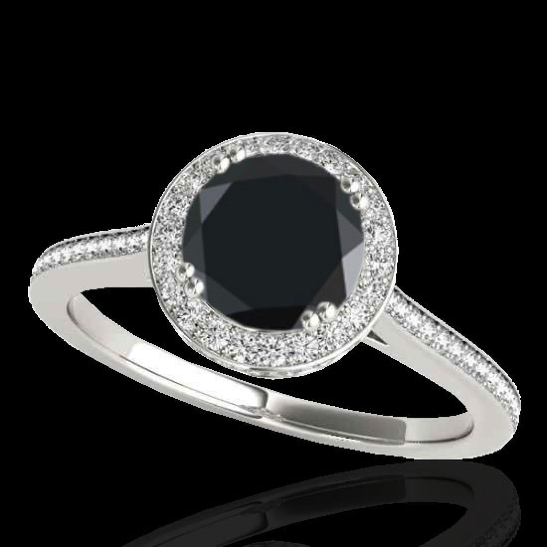 2.03 CTW Certified VS Black Diamond Solitaire Halo Ring