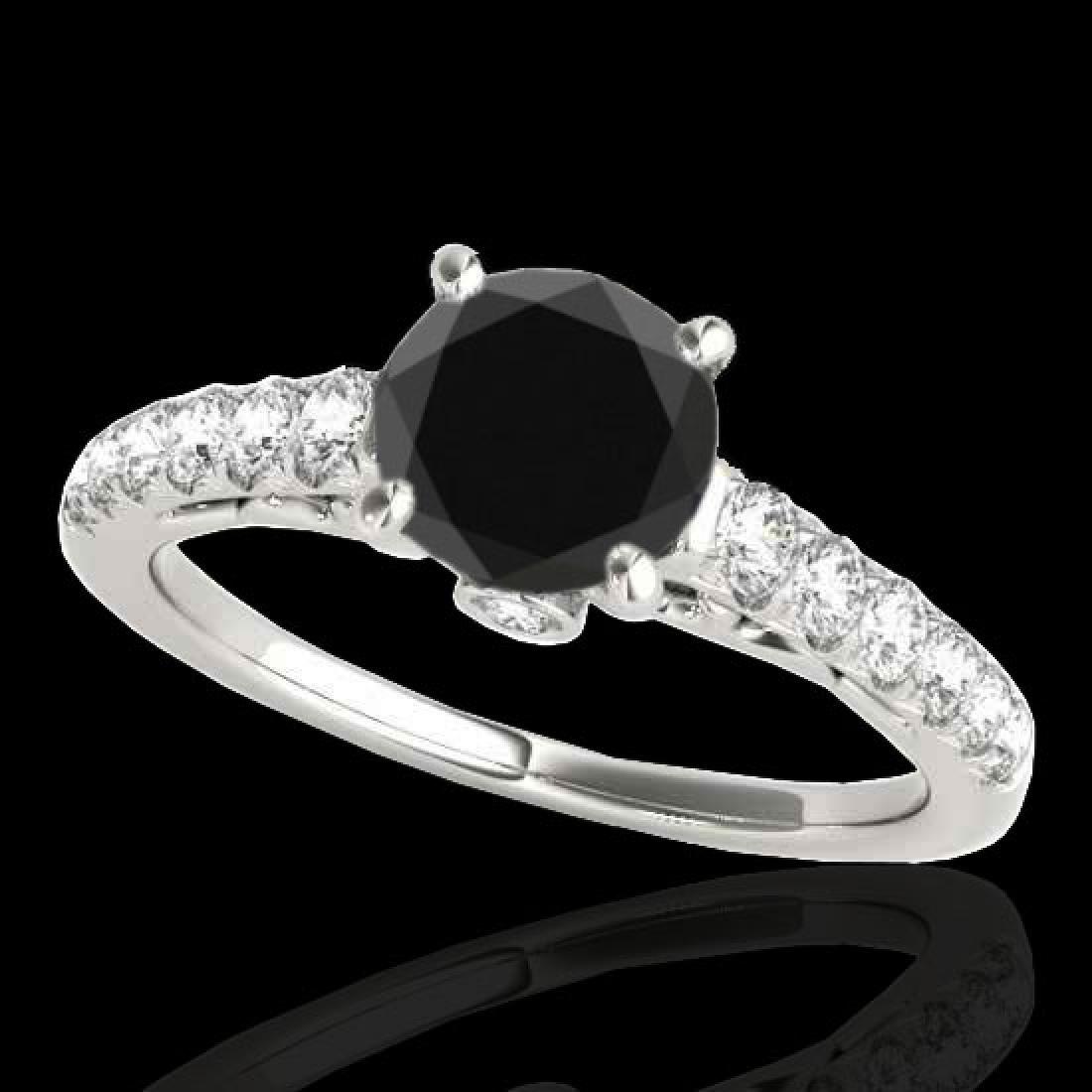 1.5 CTW Certified VS Black Diamond Solitaire Ring 10K