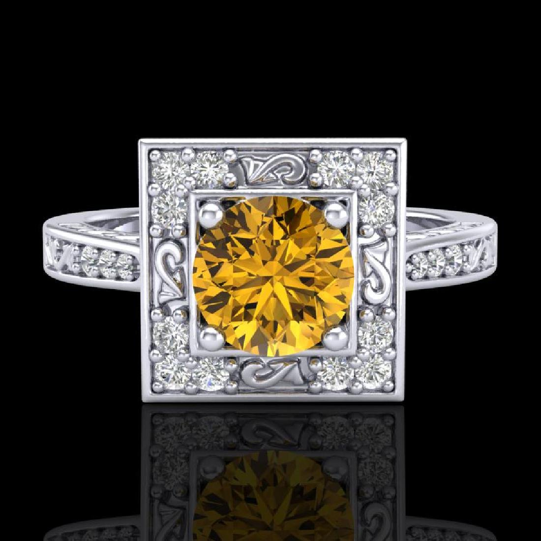 1.1 CTW Intense Fancy Yellow Diamond Engagement Art - 2