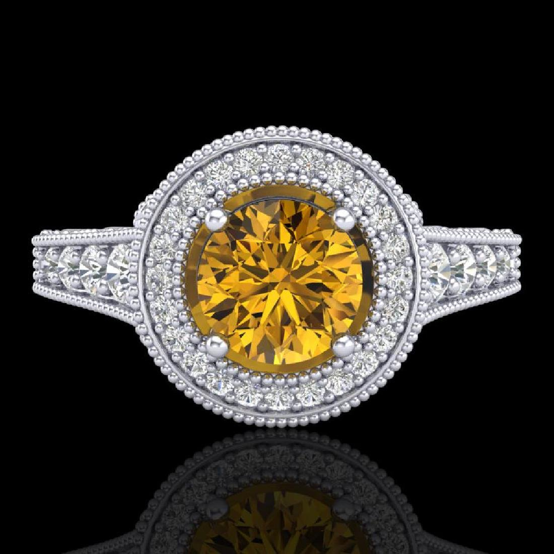 1.12 CTW Intense Fancy Yellow Diamond Engagement Art - 2