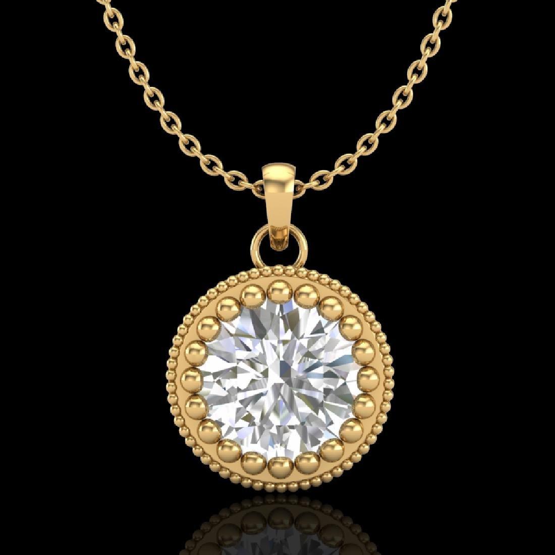 1 CTW VS/SI Diamond Solitaire Art Deco Necklace 18K