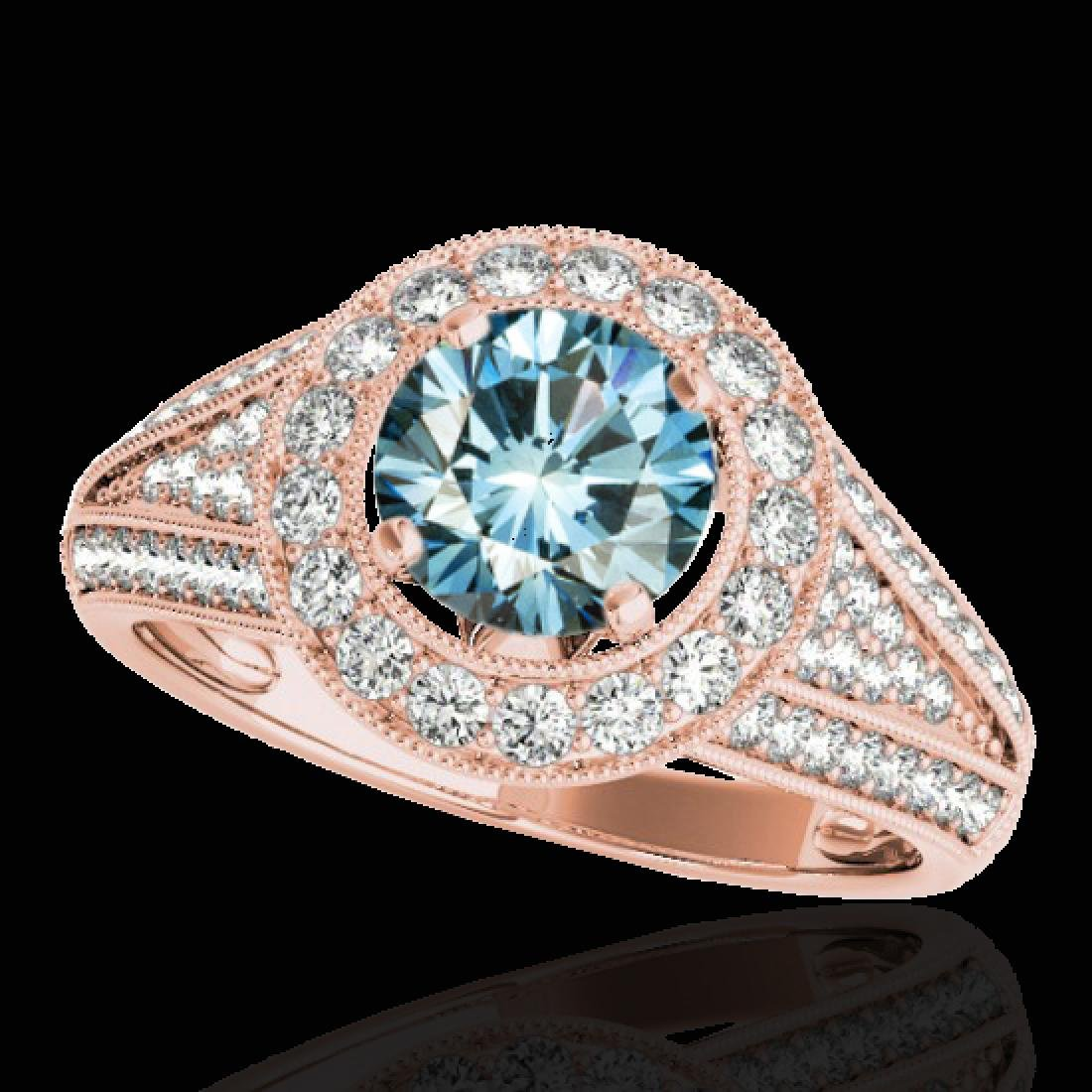 1.7 CTW SI Certified Fancy Blue Diamond Solitaire Halo