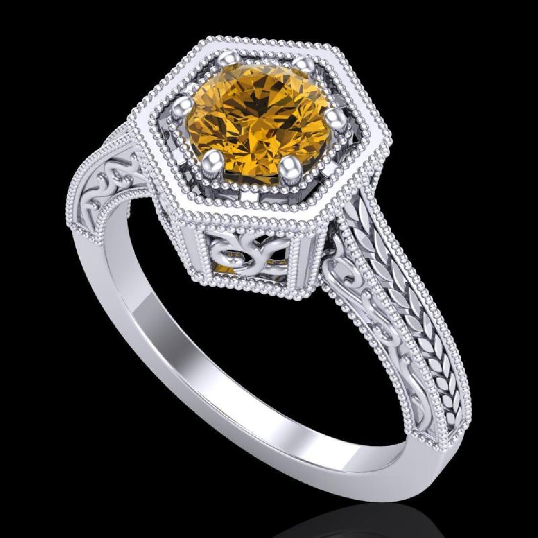 0.77 CTW Intense Fancy Yellow Diamond Engagement Art